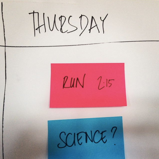 an image from Alexendar Kelly's instagram feed of the plan for one of the making days. A red post it says 'run' and a blue one 'science?'
